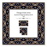 Vintage square 3D frame sawtooth edge aboriginal geometry stitch. Retro style template ideal for invitation or greeting card design royalty free illustration