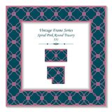 Vintage square 3D frame spiral pink curve tracery. Retro style template ideal for invitation or greeting card design Stock Photos