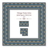 Vintage square 3D frame spiral square check tracery line. Retro style template ideal for invitation or greeting card design Stock Photography
