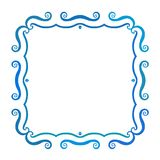 Vintage square frame with blue waves, vector Royalty Free Stock Image