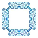 Vintage square frame with blue waves, vector Royalty Free Stock Photos