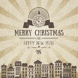 Vintage square monochrome brown-white retro Christmas card Royalty Free Stock Images