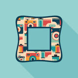 Vintage square photo frame with colorful cameras and films. Royalty Free Stock Images