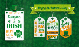 Vintage St Patricks Day Board Hat 3 Price Stickers Text. Vintage background with white frame and price stickers for St Patricks Day Royalty Free Stock Images