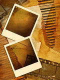 Vintage staff. Vintage background with instant frames  and film strips Royalty Free Stock Photo
