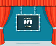 Vintage Stage with Red Curtains and Marquee Sign Retro Movie Club Royalty Free Stock Photos