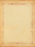 Vintage stained paper with floral border Stock Photography