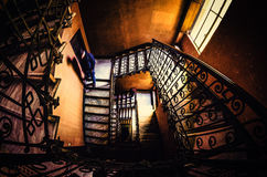Vintage stairs in Milan. Stairway photographed in an old hostel in Milan, Italy Stock Image