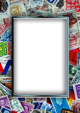 Vintage stamp collection frame Stock Image