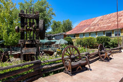 Vintage Stamp Mill in California. Coulterville, California - July 27, 2014: An antique Stamp Mill on display on Main Street. These machines were used to crush stock image