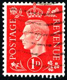Vintage stamp printed in Great Britain 1939 shows , King George VI. POLTAVA, UKRAINE - APRIL 21, 2019. Vintage stamp printed in Great Britain 1939 shows , King stock photos