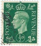 Vintage stamp printed in Great Britain 1939 shows , King George VI. POLTAVA, UKRAINE - APRIL 21, 2019. Vintage stamp printed in Great Britain 1939 shows , King royalty free stock images