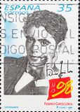 Vintage stamp shows Federico García Lorca stock photo