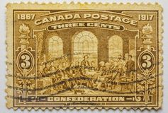 VINTAGE STAMP. CANADA three cents. 1917 Limited Series. VINTAGE STAMP. THREE CENTS, sepia print, fine grafics Stock Images