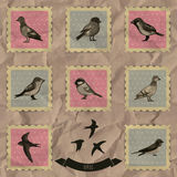 Vintage stamps with birds Royalty Free Stock Image