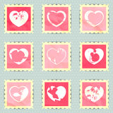 Vintage stamps with hearts Stock Images