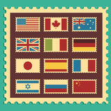 Vintage Stamps Representing World Flags. Stock Photos
