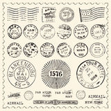 Vintage Stamps Set Royalty Free Stock Photography