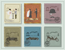 Vintage stamps for your cards on the green table Royalty Free Stock Image