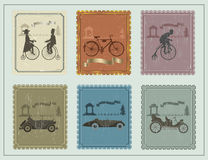 Vintage stamps for your cards on the green table Stock Photos