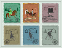 Vintage stamps for your cards on the green table Royalty Free Stock Images