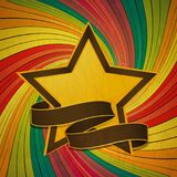 Vintage star and banner over colourful swirl Royalty Free Stock Photo