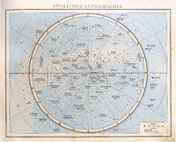 Vintage Star Chart, 1890. Vintage chart of the southern sky from a german atlas. Andrees Handatlas, Bielefeld und Leipzig, 1890., second edition Royalty Free Stock Image