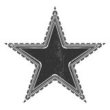 Vintage star label. Grunge black star on white Stock Images