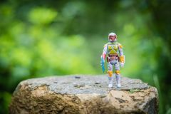 Allentown, Pennsylvania U.S.A. -- October 24, 2018: Star Wars action figure, vintage Boba Fett Mandalorian bounty hunter Kenner to stock photography