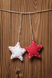Vintage stars hanging on rope Royalty Free Stock Photography