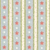 Vintage Stars Pattern. Vintage seamless vector pattern with stripes and stars Royalty Free Stock Photography