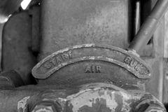 Vintage Start Lever. Black and white image of vintage start lever Stock Photography