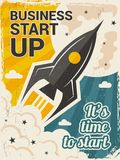 Vintage startup poster. Business launch concept with rocket or space shuttle start vector placard in retro style. Illustration of rocket launch startup, banner royalty free illustration