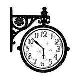 Vintage station clock engraving style vector. Vintage station clock engraving vector illustration. Scratch board style imitation. Hand drawn image Royalty Free Stock Images