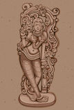 Vintage Statue of Indian female Sculpture. Vector design of Vintage statue of Indian female sculpture engraved on stone Royalty Free Stock Image