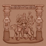 Vintage Statue of Indian Goddess Chandraghanta Sculpture Royalty Free Stock Photo