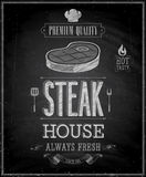 Vintage Steak House Poster - Chalkboard. Royalty Free Stock Photos