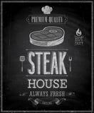 Vintage Steak House Poster - Chalkboard. royalty free illustration