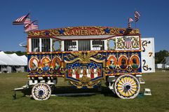Vintage Steam Calliope and Circus Wagon. Colorful Circus Wagon and old time steam Calliope Royalty Free Stock Photography