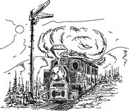 Vintage Steam engine vector illustration