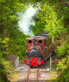 Vintage steam engine. Vintage steam train / engine on railway track coming towards the camera Royalty Free Stock Photography