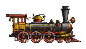 Vintage steam locomotive. Drawn ancient train, transport. Vector illustration. Isolated on white background Royalty Free Stock Photography
