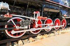 Vintage steam locomotive engine wheels. And rods details Stock Image