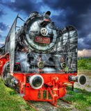 Locomotive. Old locomotive on rail, HDR royalty free stock image