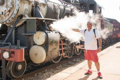 Vintage Steam Locomotive in Remedios,Cuba Stock Photos