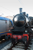 Vintage Steam Locomotive at the station Royalty Free Stock Image