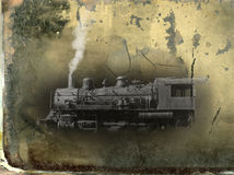 Vintage Steam Locomotive Train Photograpgh. Old vintage steam locomotive railroad train edited to look like an antique and faded photograph Royalty Free Stock Photography