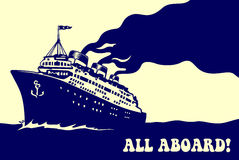 Vintage steam ocean cruise ship retro travel poster  illustration. All aboard! Vintage steam transatlantic ocean cruise liner ship with smoke puff, retro Royalty Free Stock Photography