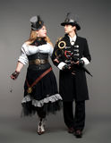 Vintage steam-punk stylized couple Stock Image