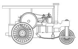 Vintage Steam Roller Outline. A vintage victorian ere steam roller over a white bakground Royalty Free Stock Photos